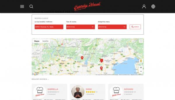 Ricerca cuoco secondo e visualizzazione su mappa e schede cuochi