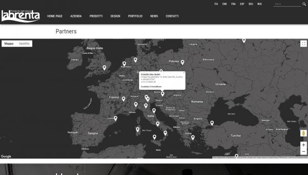 Area partners con google map che mostra i vari marker relativi ai diversi rivenditori