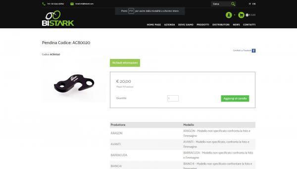 Scheda prodotto con possibilità di acquisto on line e visualizzazione bici compatibili